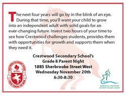 Crestwood Secondary School Grade 8 Parent Night